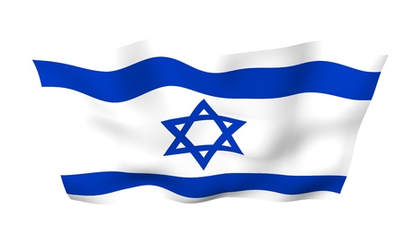 The flag of Israel. State symbol of the State of Israel. A blue Star of David between two horizontal blue stripes on a white field. 3d illustration Banco de Imagens