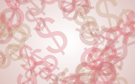 Multicolored translucent dollar signs on white background. Red tones. 3D illustration Stock Photo