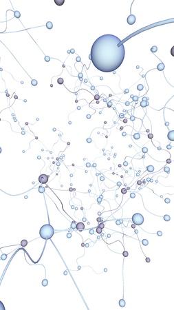 Neural network. Social network. Futuristic dna, deoxyribonucleic acid. Abstract molecule, cell illustration, mycelium. Light background. 3D illustration Stockfoto