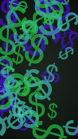 Multicolored translucent dollar signs on dark background. Green tones. 3D illustration
