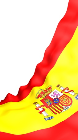 The flag of Spain. Official state symbol of the Kingdom of Spain. Concept: web, sports pages, language courses, travelling, design elements. 3d illustration Archivio Fotografico