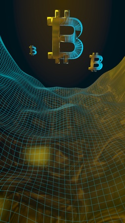 Digital currency, golden symbol Bitcoin on abstract dark background. Growth of the crypto currency market. Business, finance and technology concept. 3D illustration Stock Photo