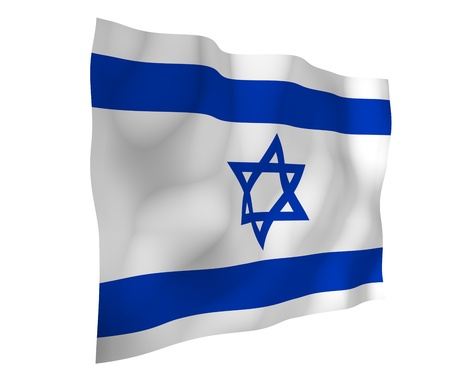The flag of Israel. State symbol of the State of Israel. A blue Star of David between two horizontal blue stripes on a white field. 3d illustration 스톡 콘텐츠