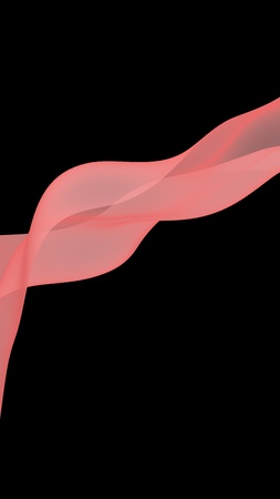 Abstract light red wave. Bright light red ribbon on dark background. Abstract red smoke. Light red scarf. Raster air background. 3D illustration
