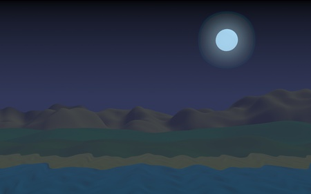 Starry moonless sky. Ocean shore line with waves on a beach. Island beach paradise with waves. Vacation, summer, relaxation. Seascape, seashore. Minimalist landscape, primitivism. 3D illustration Imagens