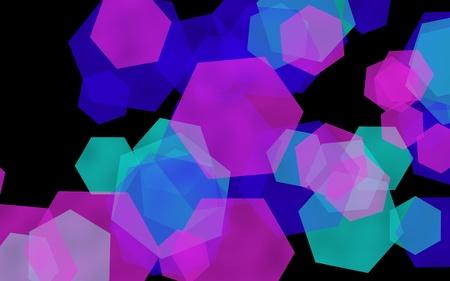 Multicolored translucent hexagons on dark background. Pink tones. 3D illustration
