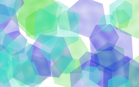Multicolored translucent hexagons on white background. Blue tones. 3D illustration