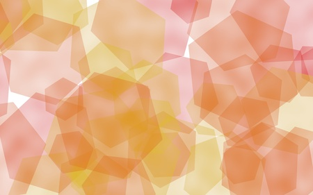 Multicolored translucent hexagons on white background. Yellow tones. 3D illustration