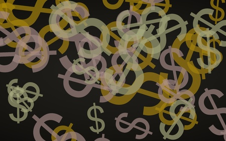 Multicolored translucent dollar signs on dark background. 3D illustration 스톡 콘텐츠