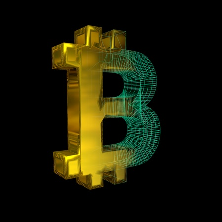 Bitcoin sign, the green grid turns into gold on a black background. 3D illustration