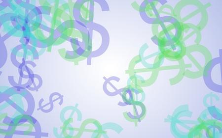 Multicolored translucent dollar signs on white background. 3D illustration Stok Fotoğraf