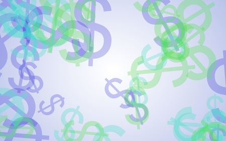 Multicolored translucent dollar signs on white background. 3D illustration Stock Photo
