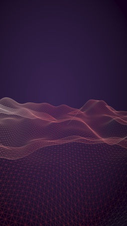 Abstract landscape background. Cyberspace purple grid. hi tech network. 3D illustration