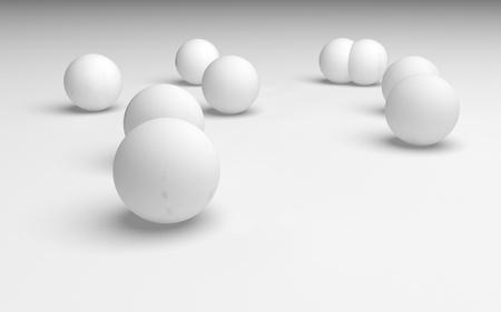 White abstract background. Set of white balls isolated on white backdrop. 3D illustration Reklamní fotografie