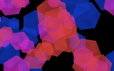 Multicolored translucent hexagons on dark background. Green tones. 3D illustration