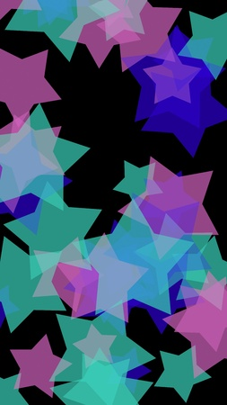 Multicolored translucent stars on a dark background. Vertical image orientation. 3D illustration 스톡 콘텐츠
