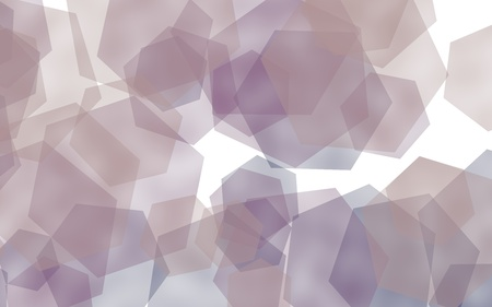 Gray translucent hexagons on white background. Gray tones. 3D illustration
