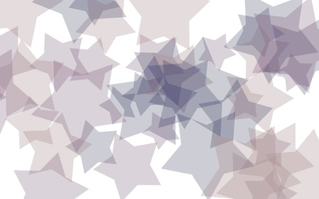 Gray translucent stars on a white background. Gray tones. 3D illustration