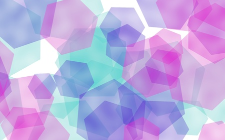 Multicolored translucent hexagons on white background. Red tones. 3D illustration 스톡 콘텐츠