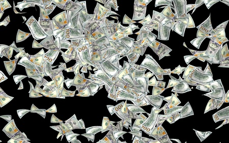 Flying dollars banknotes isolated on dark background. Money is flying in the air. 100 US banknotes new sample. 3D illustration
