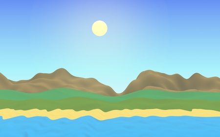 Sun Sea Beach. Noon. Ocean shore line with waves on a beach. Island beach paradise with waves. Vacation, summer, relaxation. Seascape, seashore. Minimalist landscape, primitivism. 3D illustration Imagens