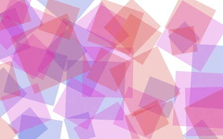Multicolored translucent squares on white background. Red tones. 3D illustration 스톡 콘텐츠