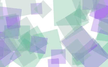 Multicolored translucent squares on white background. Green tones. 3D illustration Stok Fotoğraf