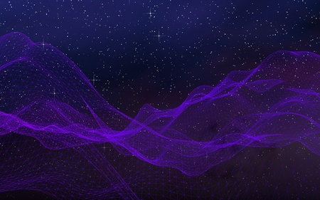 Abstract ultraviolet landscape on a dark background. Ultraviolet cyberspace grid. hi tech network. Outer space. Violet starry outer space texture. 3D illustration Stock Photo