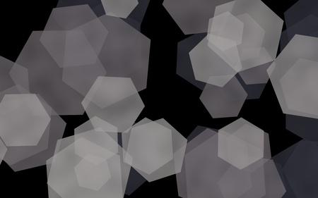 Gray translucent hexagons on dark background. Green tones. 3D illustration Stok Fotoğraf