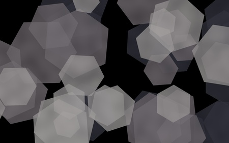 Gray translucent hexagons on dark background. Green tones. 3D illustration Stock Photo