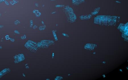 Digitale valutasymbool Bitcoin op een donkere achtergrond. Val van bitcoin. crypto valutagrafiek op virtueel scherm. Business, Financiën en technologie concept. 3D illustratie