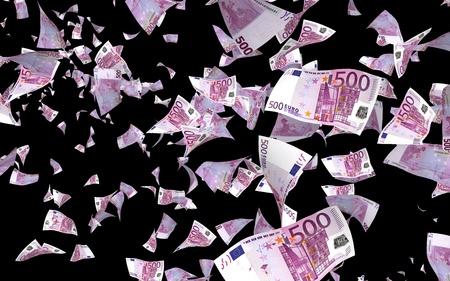 Flying euro banknotes isolated on a dark background. Money is flying in the air. 500 EURO in color. 3D illustration