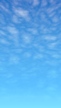 Blue sky background with white clouds. Cumulus white clouds in the clear blue sky in the morning. 3D illustration 写真素材