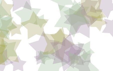 Multicolored translucent stars on a white background. Green tones. 3D illustration 스톡 콘텐츠