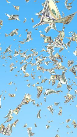 Flying dollars banknotes isolated on a blue background. Money is flying in the air. 100 US banknotes new sample. 3D illustration