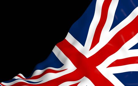 Waving flag of the Great Britain on dark background. British flag. United Kingdom of Great Britain and Northern Ireland. State symbol of the UK. 3D illustration Stock fotó