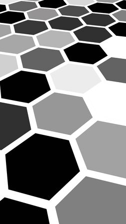 Honeycomb gray colored. Perspective view on polygon look like honeycomb. Isometric geometry. 3D illustration
