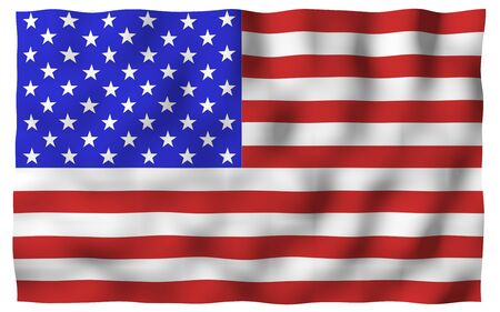 Waving flag of the United States of America. Stars and Stripes. State symbol of the USA. 3D illustration