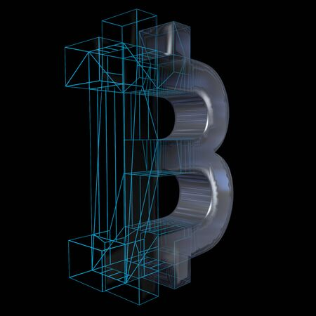 Bitcoin sign, platinum or silver turns into a blue grid on a black background. 3D illustration
