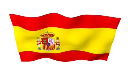 The flag of Spain. Official state symbol of the Kingdom of Spain. Concept: web, sports pages, language courses, travelling, design elements. 3d illustration Фото со стока