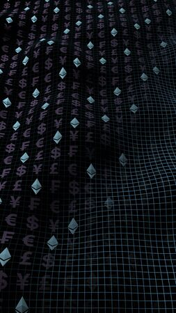 Ethereum crystal and currency on a dark background. Digital crypto currency symbol. Business concept. Market Display. 3D illustration 写真素材