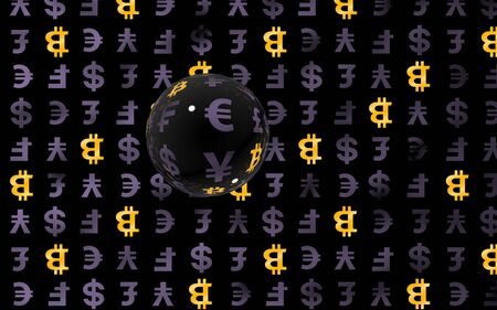 Bitcoin and currency on a dark background. Digital crypto symbol. Currency bubble, market fluctuations. Business concept. 3D illustration