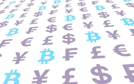 Bitcoin and currency on a white background. Digital crypto currency symbol. Business concept. Market Display. 3D illustration