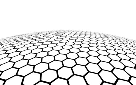 White honeycomb on a white background. Perspective view on polygon look like honeycomb. Ball, planet, covered with a network, honeycombs, cells. 3D illustration