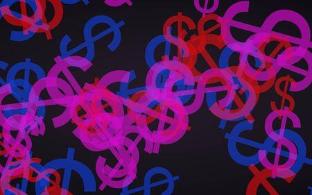 Multicolored translucent dollar signs on dark background. Red tones. 3D illustration