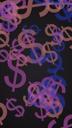 Gray translucent dollar signs on dark background. Gray tones. 3D illustration