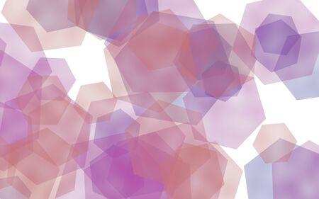 Gray translucent hexagons on white background. Gray tones. 3D illustration