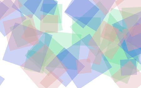 Multicolored translucent squares on white background. Pink tones. 3D illustration
