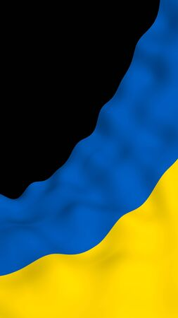 The flag of Ukraine on a dark background. National flag and state ensign. Blue and yellow bicolour. 3D illustration waving flag
