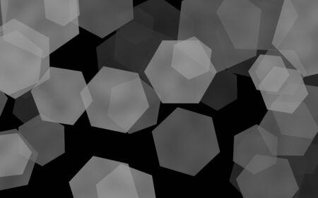 Multicolored translucent hexagons on dark background. Green tones. 3D illustration